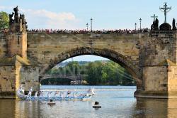 Navalis 2018 - Bissona Cavalli sulla Moldova sotto il Ponte Carlo - Praga